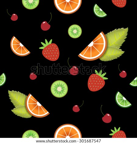 Vector seamless fruit pattern. Black background. Orange, strawberry, mint, cherry, lime, kiwi. Wrapping paper, wallpaper, packaging design, decorative element. - stock vector