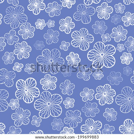 vector seamless gentle abstract flower print - stock vector