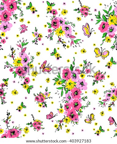 vector seamless gentle hand drawn artistic summer flowers pattern, little disty print, beautiful flowers in bouquet background allover design - stock vector