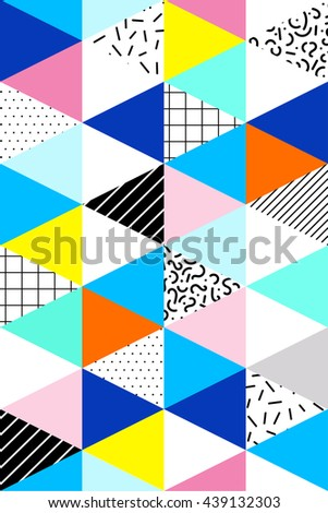 Vector seamless geometric pattern. Memphis Style. Abstract 80s. - stock vector