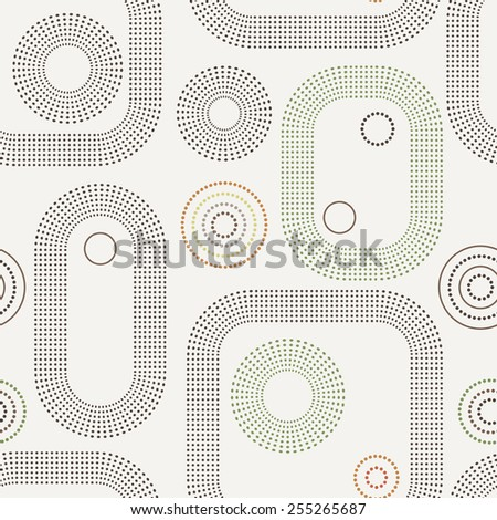 Vector seamless geometric pattern of dots and lines in several colors - stock vector