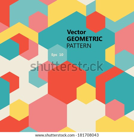 Vector seamless geometric pattern of multicolored hexagons  - stock vector
