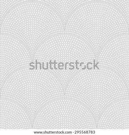 Vector seamless geometrical pattern with fish scale layout. Small dark grey dotted triangular elements on a light background - stock vector