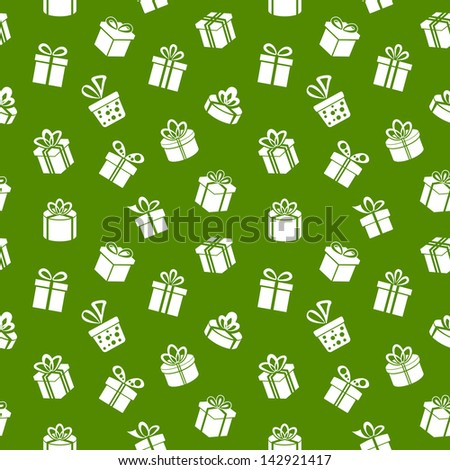 Vector Seamless Gift Pattern on green background - stock vector