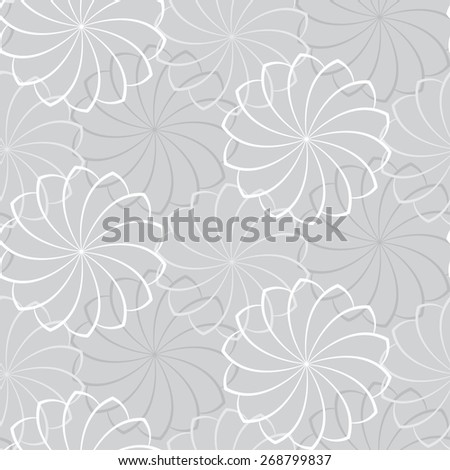 Vector seamless gray background with a flower pattern - stock vector