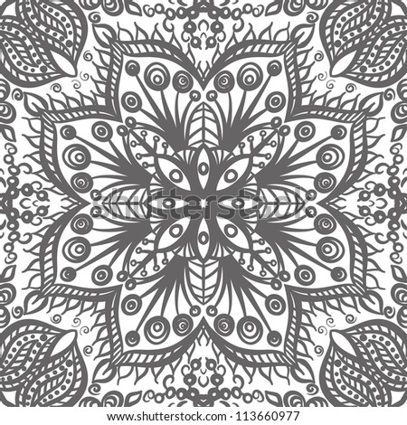vector seamless gray floral pattern background - stock vector