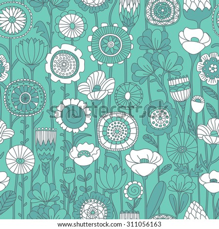 vector seamless green and white background of wildflowers doodles - stock vector