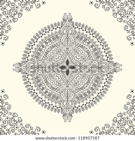 vector seamless grey floral pattern background - stock vector