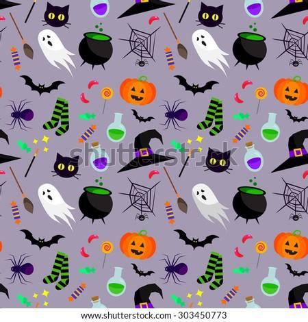 Vector seamless halloween pattern. - stock vector
