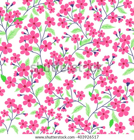 vector seamless hand drawn gentle naive floral pattern, fantasy wild flowers, colorful summer mood, romantic flower background allover print - stock vector