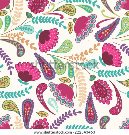 Vector seamless hand-drawn pattern with decorative flowers and leaves. Colorful floral background template. - stock vector