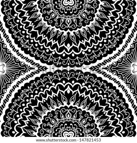vector seamless hand drawn white and black floral pattern background - stock vector
