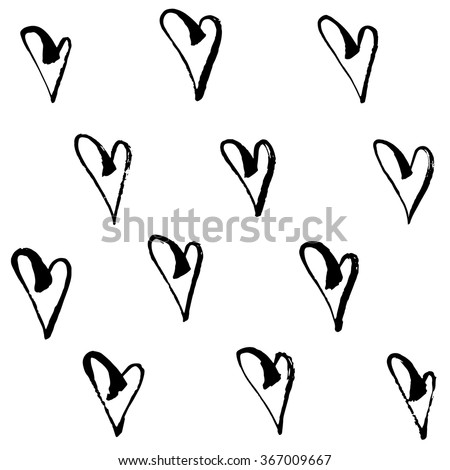 Vector seamless hearts pattern. Hand drawn abstract hearts. Black and white - stock vector