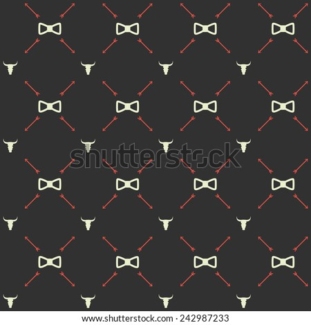 Vector seamless hipster retro pattern, with bull skull, bow ties, arrows. For wallpaper, pattern fills, web page background, blog. Stylish texture. Vintage colors. Flat design. - stock vector