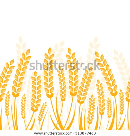 Vector seamless horizontal background with golden ripe ear of wheat. Abstract concept for organic products, harvest, grain, bakery, healthy food. - stock vector