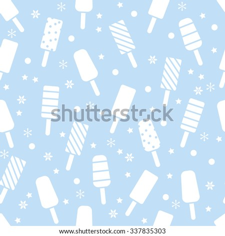 vector seamless icecream pattern with popsicles - stock vector