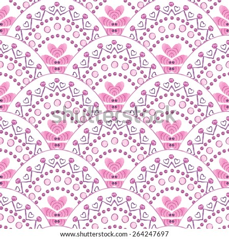 Vector  seamless illustration  with hand drawn watercolor elements and flowers, pattern can be used for wallpaper, pattern fills, surface textures  - stock vector