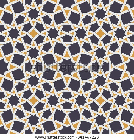 Vector Seamless Islamic Star Line in Yellow And Blue Geometric Pattern Abstract Background - stock vector