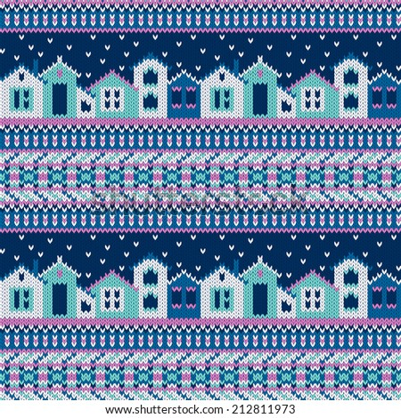 Vector seamless knitted pattern with houses and snowflakes in ethnic style - stock vector