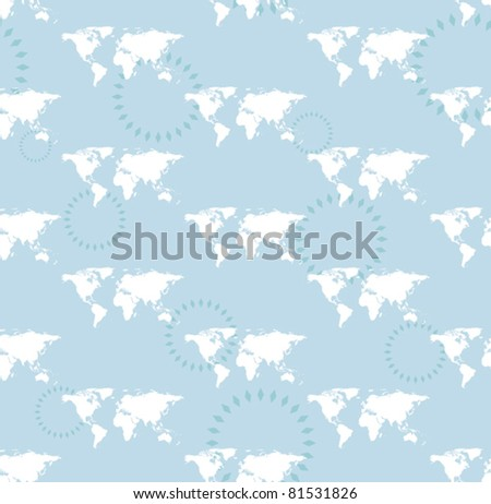 vector seamless light pattern with maps of the world - stock vector