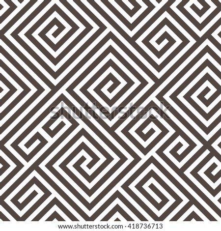Vector Seamless Maze Pattern for Textile Design. Black and White Print Ornament with Tangled Lines - stock vector