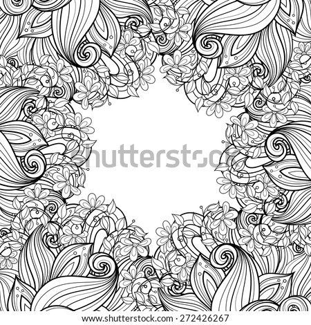 Vector Seamless Monochrome Floral Background. Hand Drawn Decorative Flowers, Coloring Book - stock vector