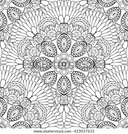 Vector Seamless Monochrome Pattern For Coloring. Hand Drawn Decorative Scales - stock vector