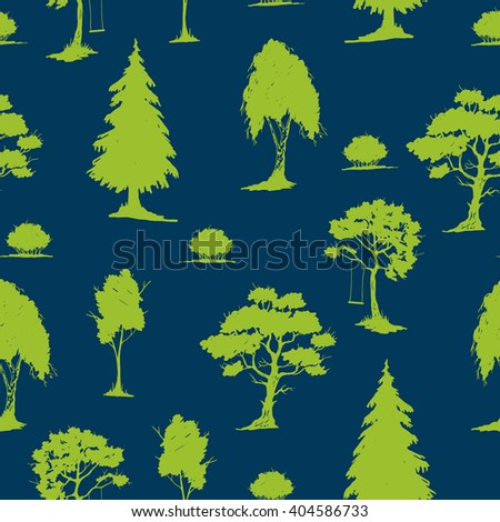 Vector seamless natural pattern with trees. Green on blue.  Hand drawn vector illustration. Ink sketch. For prints, backgrounds, wrapping, fabric and other design. - stock vector