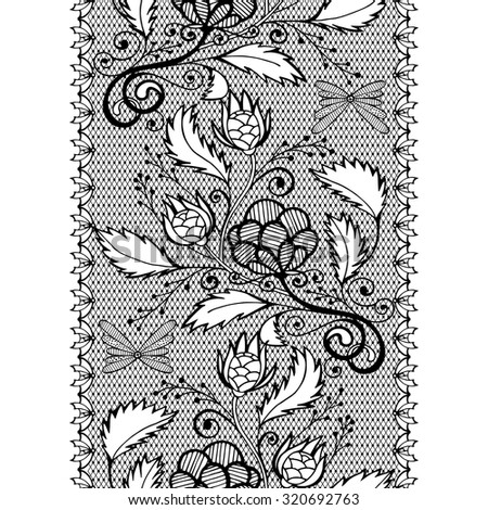 Vector seamless openwork lace border, black endless pattern - stock vector