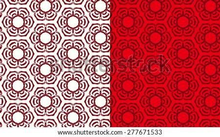 Vector Seamless Oriental Abstract Pattern Set - stock vector