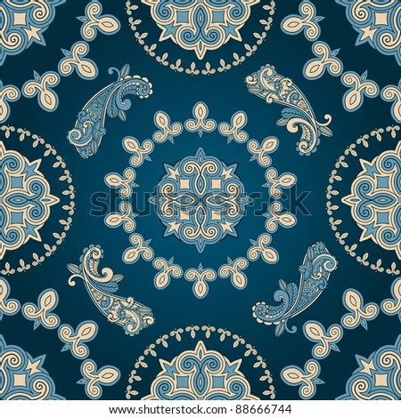 vector seamless paisley pattern in blue - stock vector