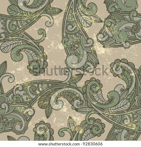 vector seamless paisley pattern on  grungy background - stock vector