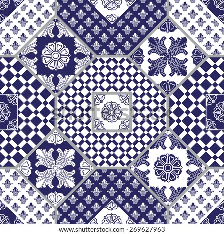 Vector seamless patchwork background from dark blue and white ornaments, geometric patterns, stylized flowers and leaves - stock vector