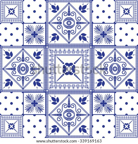 Vector seamless patchwork background. Navy blue tiles in moroccan oriental style. Ceramic pattern design. - stock vector