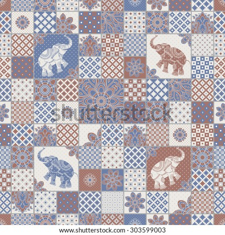 Vector seamless patchwork pattern from dark blue, terracotta light grey and beige oriental ornaments. Indian elephant silhouette, rosette from stylized flowers and leaves. Geometrical  textile print - stock vector