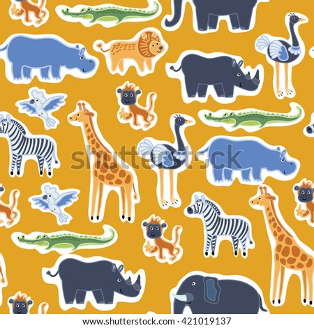 Vector seamless patter of illustration of cute funny african animals, beasts of savanna - stock vector