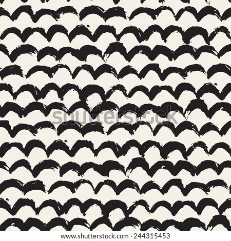Vector seamless pattern. Abstract background with arcuate brush strokes. Monochrome hand drawn texture - stock vector