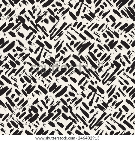 Vector seamless pattern. Abstract background with brush strokes. Monochrome hand drawn texture. Randomly disposed sloppy strokes - stock vector