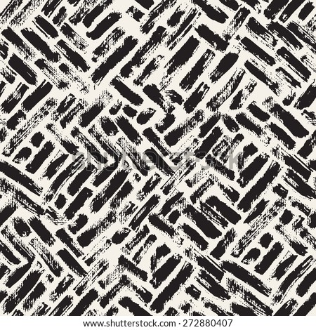Vector seamless pattern. Abstract background with brush strokes. Monochrome hand drawn texture. Randomly disposed sloppy strokes. Hipster graphic design. - stock vector