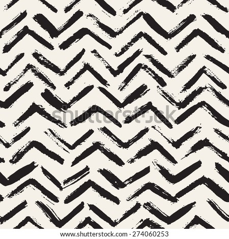 Vector seamless pattern. Abstract background with brush strokes. Monochrome hand drawn texture with chevron. Hipster graphic design. - stock vector
