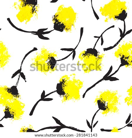 Vector seamless pattern. Abstract background with flowers made with brush strokes. Cute hand drawn texture. Artistic tileable theme with flowers. - stock vector