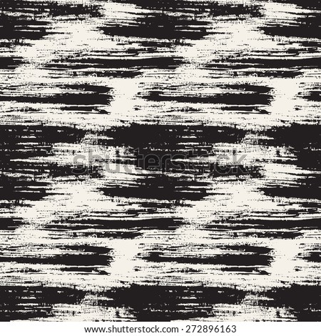 Vector seamless pattern. Abstract background with horizontal brush strokes. Monochrome hand drawn texture. - stock vector
