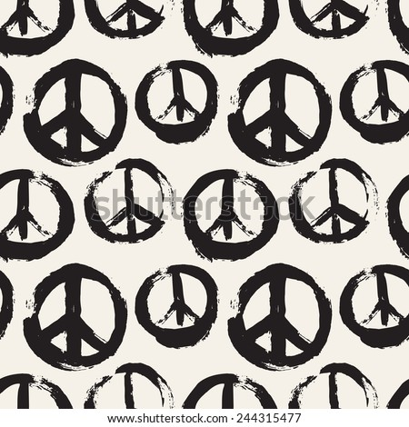 Vector seamless pattern. Abstract background with symbol of peace. The sign of pacifists. Monochrome texture made by brush strokes - stock vector
