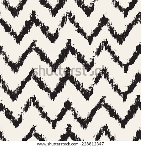 Vector seamless pattern. Abstract background with zigzag brush strokes. Monochrome hand drawn texture - stock vector
