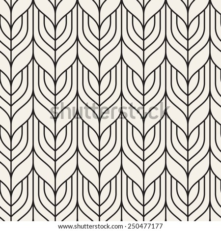 Vector seamless pattern. Abstract geometric background. Linear monochrome grid - stock vector