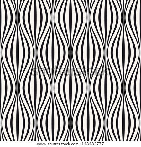 Vector seamless pattern. Abstract stylish background with wavy stripes - stock vector