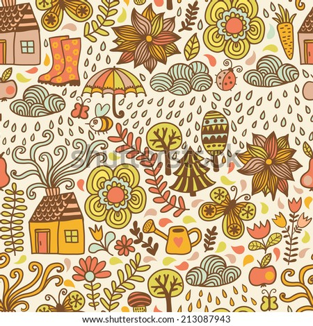 vector seamless pattern, autumn doodles card. Hand draw trees and leafs over the city. Season of the rain, illustration, cute background. Color doodle background - stock vector