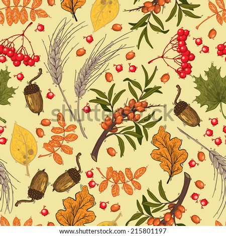 Vector seamless pattern, autumn. Mountain ash, buckthorn, acorns and leaves on light background. - stock vector