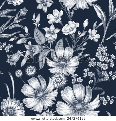 Vector seamless pattern. Background for for fabrics, textiles, paper, wallpaper, web pages, wedding invitations. Vintage style. Floral ornament. - stock vector