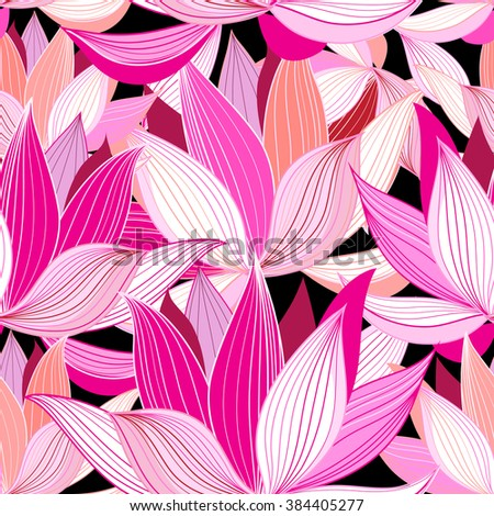 vector seamless pattern beautiful pink lotus flowers on a black background